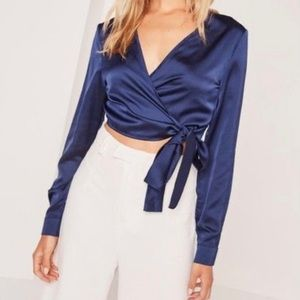 Long sleeve satin wrap front crop navy